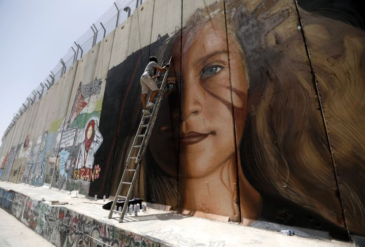 Wandgemälde von Tamimi im Westjordanland