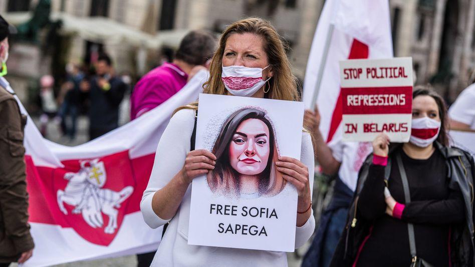 Protest zur Freilassung Sofja Sapegas in der vorigen Woche in München