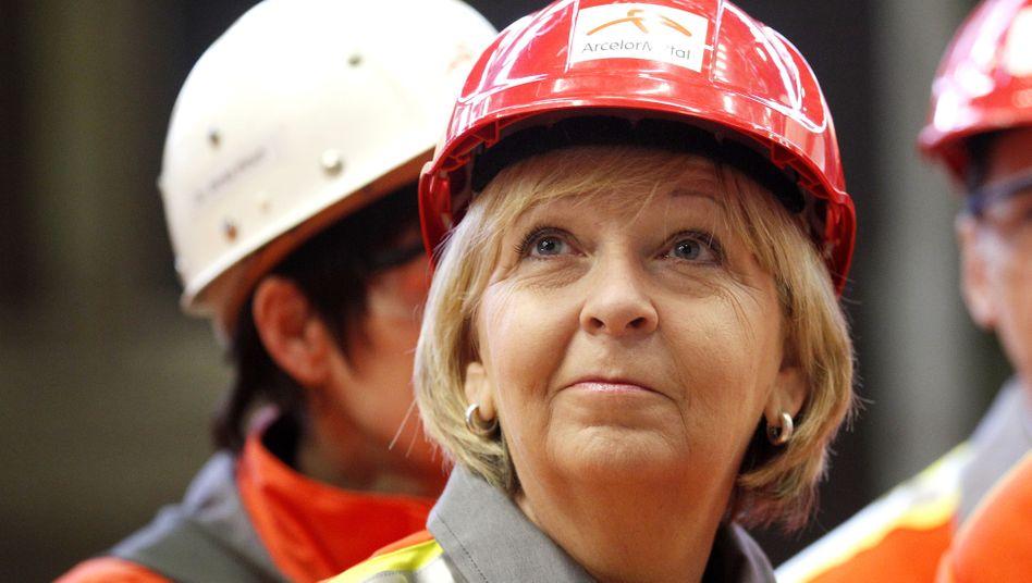"""Ministerpräsidentin Kraft (im April 2013 in Duisburg): """"Energiewende nicht auf Kosten von Arbeitsplätzen durchsetzen"""""""