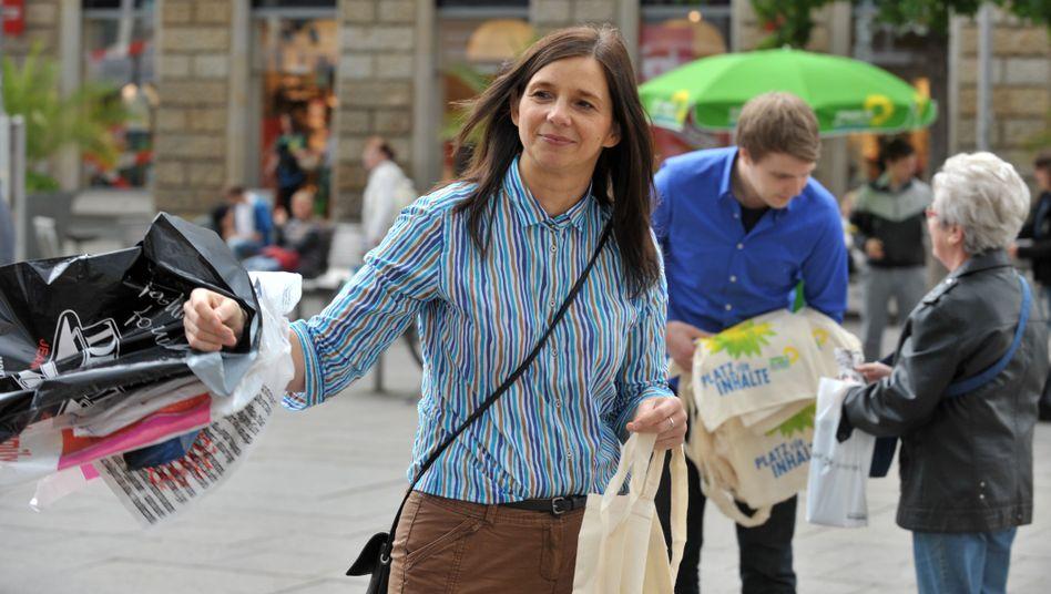 Mit Schwung unters Volk: Katrin Göring-Eckhardt im Juli in Erfurt
