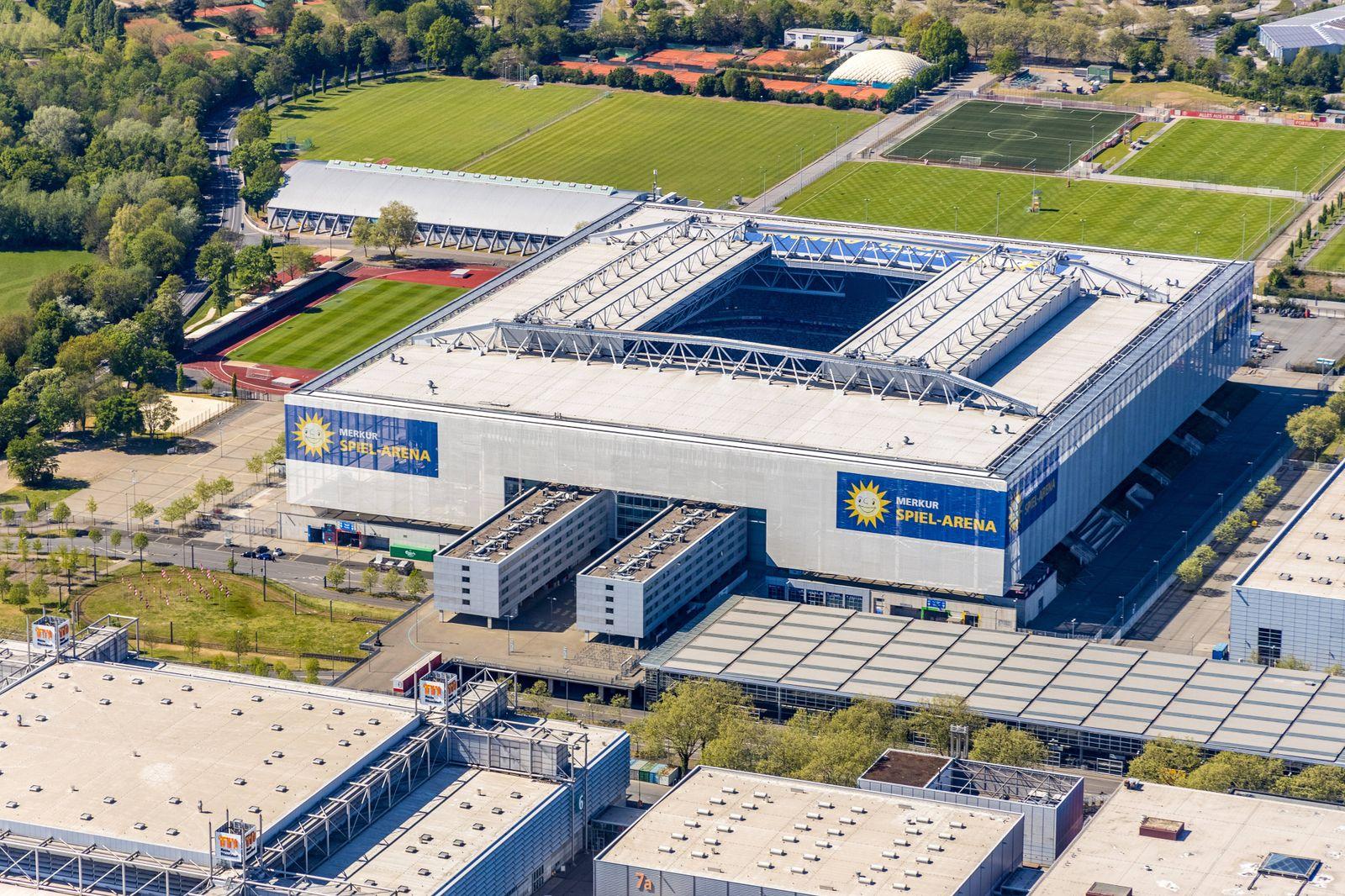 Luftbild, MERKUR SPIEL-ARENA Fu?ballstadion, D¸sseldorf, Rheinland, Nordrhein-Westfalen, Deutschland !ACHTUNGxMINDESTHON