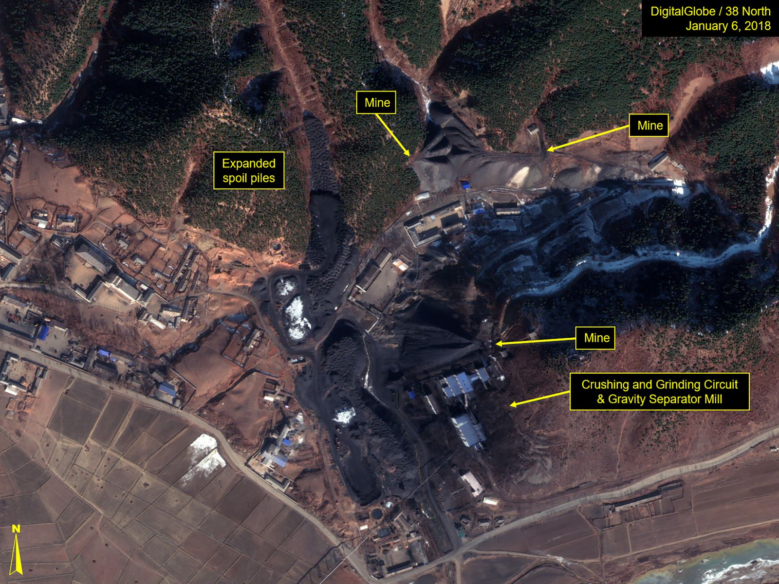 JANUARY 6, 2018: Figure 4. Some growth is observed in the spoil piles associated to the uranium mines located just north of the Pyongsan Mine and Uranium Concentration Plant.