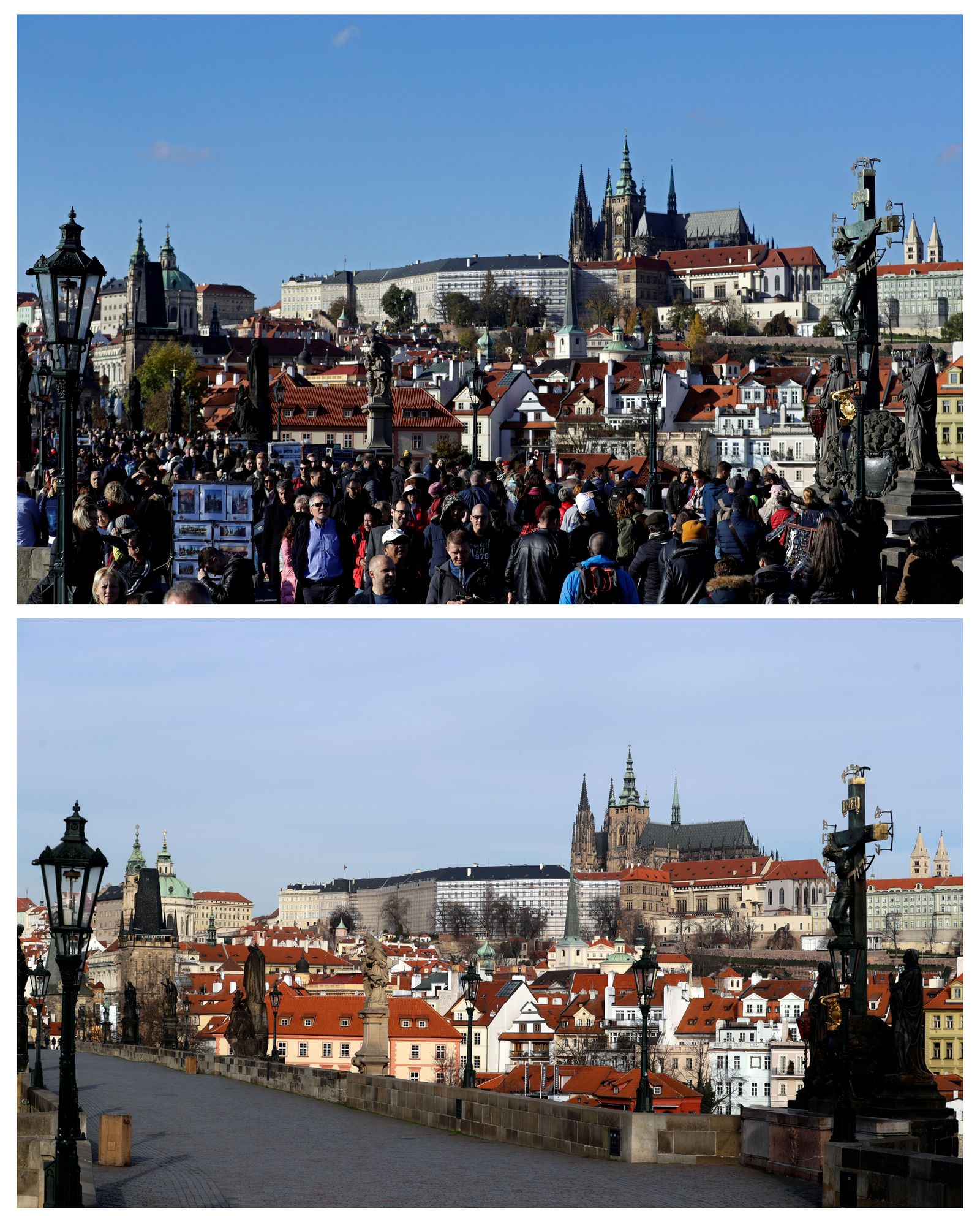 A combination picture shows tourists walking across the medieval Charles Bridge in Prague