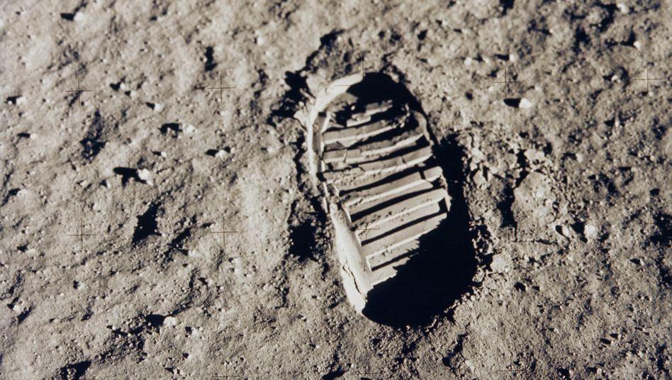 Zwölf US-Astronauten betraten zwischen 1969 und 1972 den Erdtrabanten, hier zu sehen ist der Fußabdruck von Buzz Aldrin