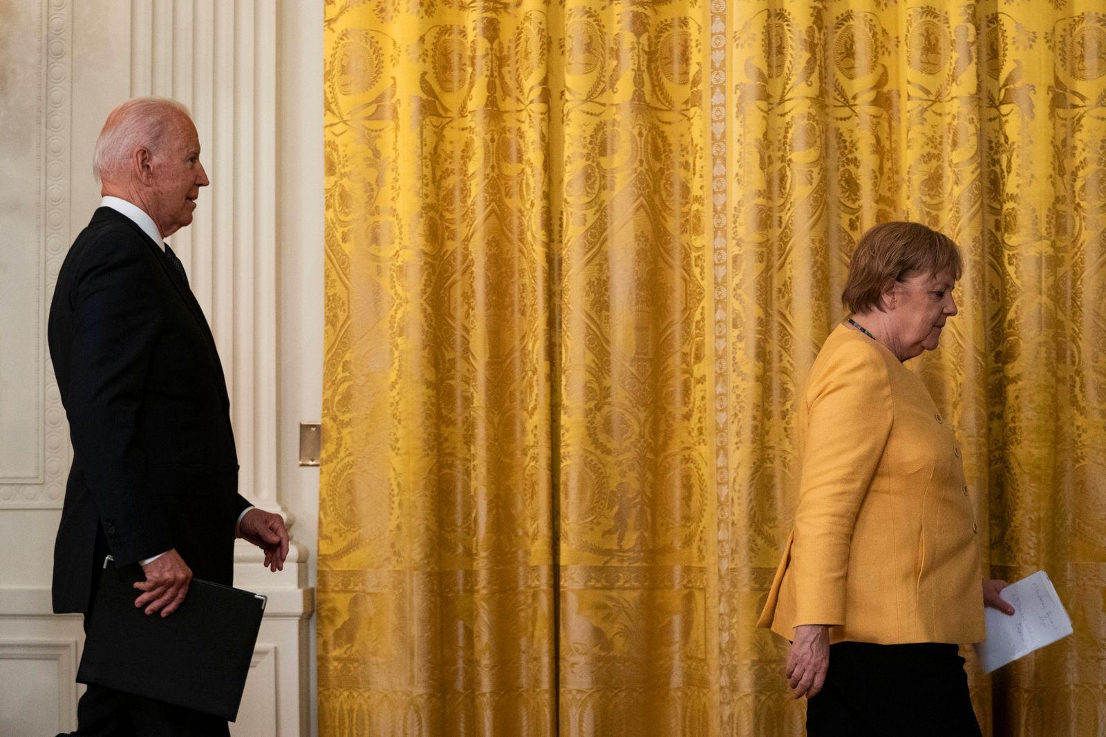 July 15, 2021, Washington, District of Columbia, USA: United States President Joe Biden, left, and Chancellor Dr. Angela