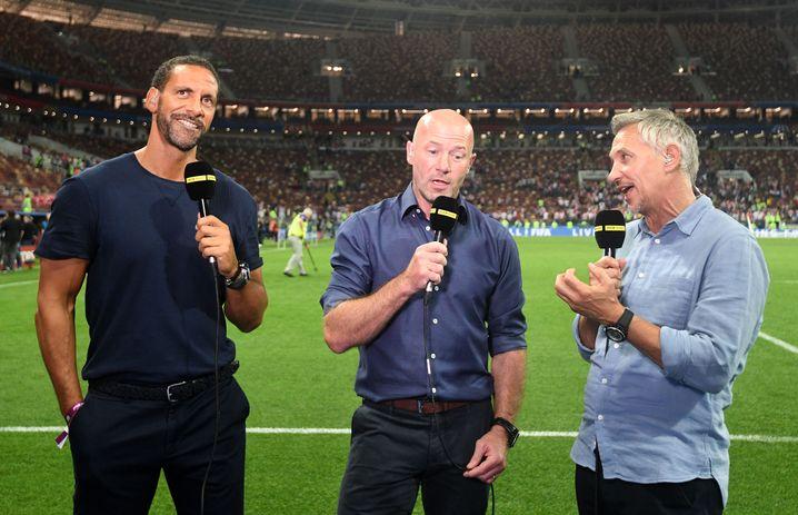 Rio Ferdinand, Alan Shearer und Gary Lineker (von links nach rechts) im Einsatz für die BBC
