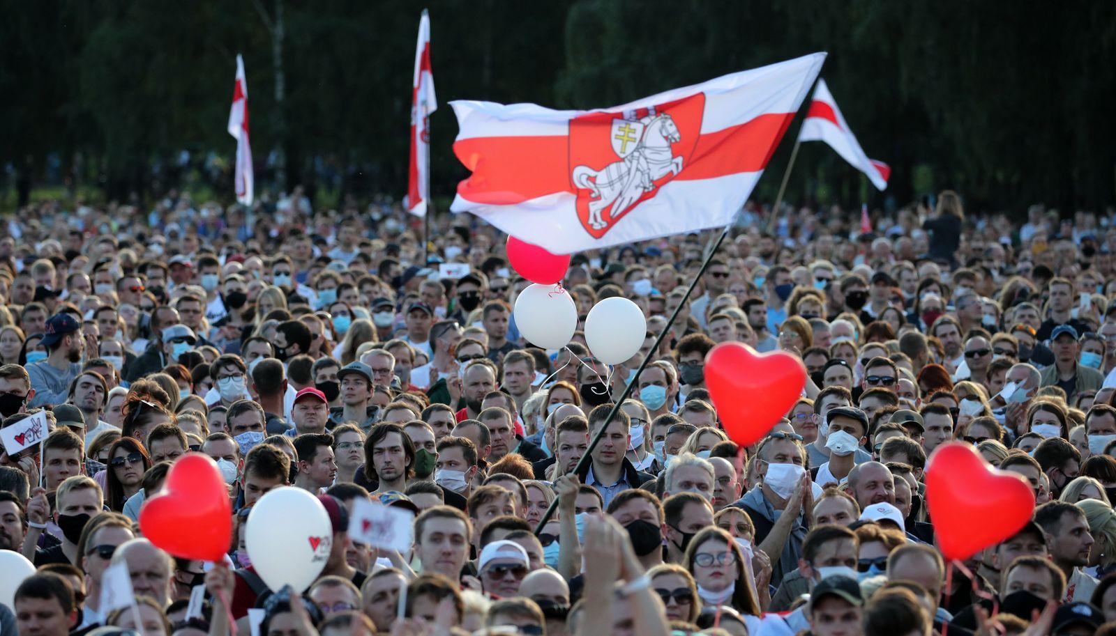 Belarusian presidential candidate Svetlana Tikhanovskaya holds campaign rally in Minsk, Belarus - 30 Jul 2020
