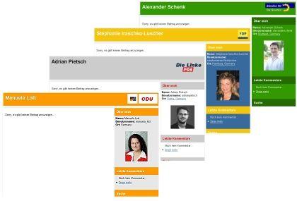 Schön viel Platz für Notizen: Politiker-Blogs bei Wahl.de ohne jeden Inhalt