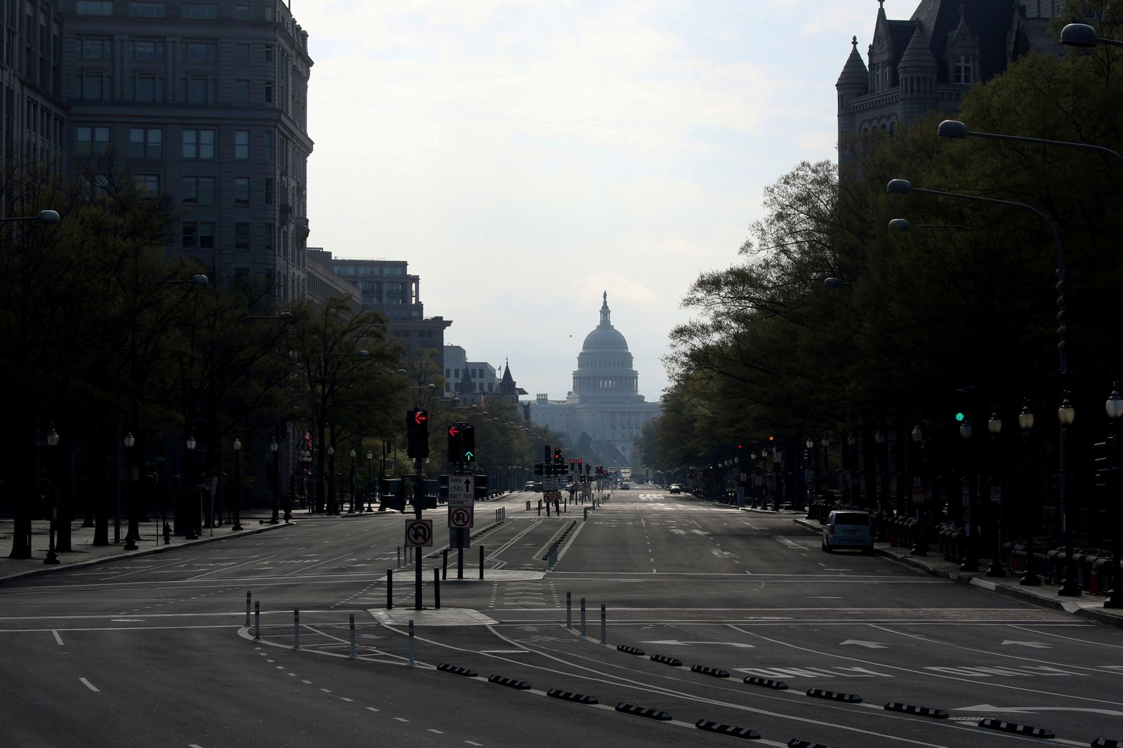 FILE PHOTO: The downtown district of Washington, looking east to the U.S. Capitol, remains largely empty to try to limit the spread of COVID-19 during the coronavirus disease pandemic in Washington