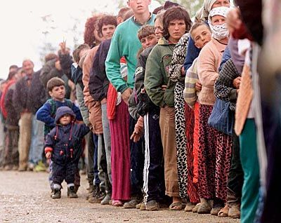 Flüchtlinge im Lager Kukes