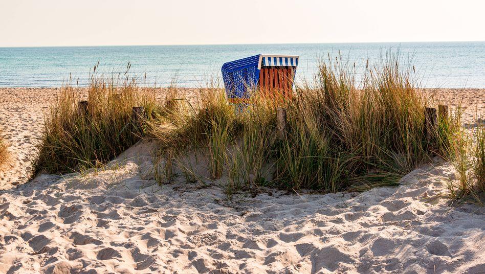 Leere Strände, fallende Zahlen: Ein Strandkorb in Eckernförde in Schleswig-Holstein