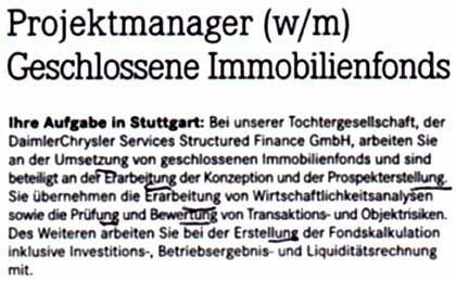 """Nominalstil in Vollendung: Anzeige von DaimlerChrysler, """"Frankfurter Allgemeine Zeitung"""", 15.11.2003"""