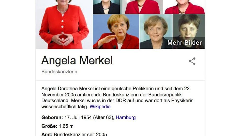 Reguläre Merkel-Infobox auf Seite eins der Google-Suchergebnisse - noch ohne politische Botschaften