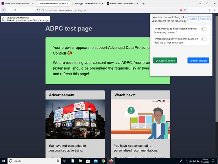 Auf der Test-Website können Nutzer mit einer Browser-Erweiterung der Datenverarbeitung differenziert widersprechen, doch noch muss sich niemand daran halten