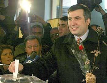 Saakashvili won an overwhelming election victory.