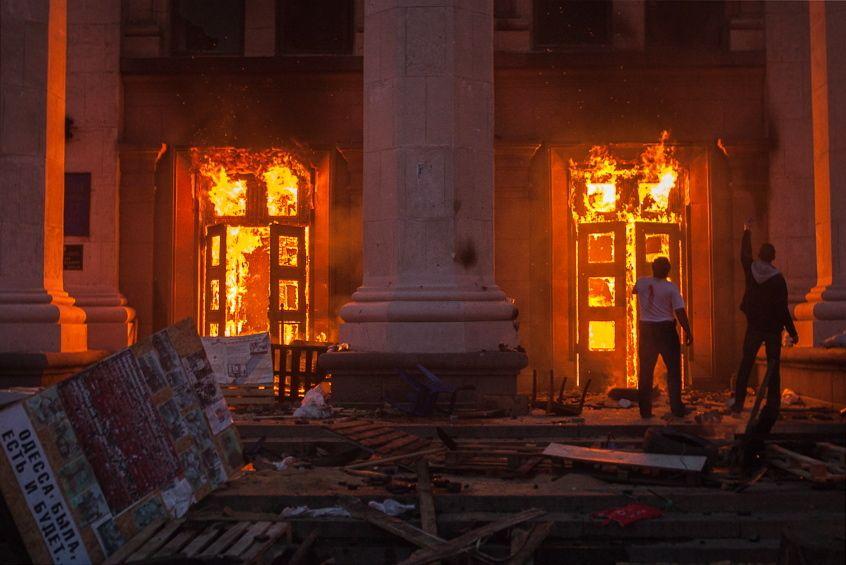 Odessa / Feuer im Gewerkschaftshaus