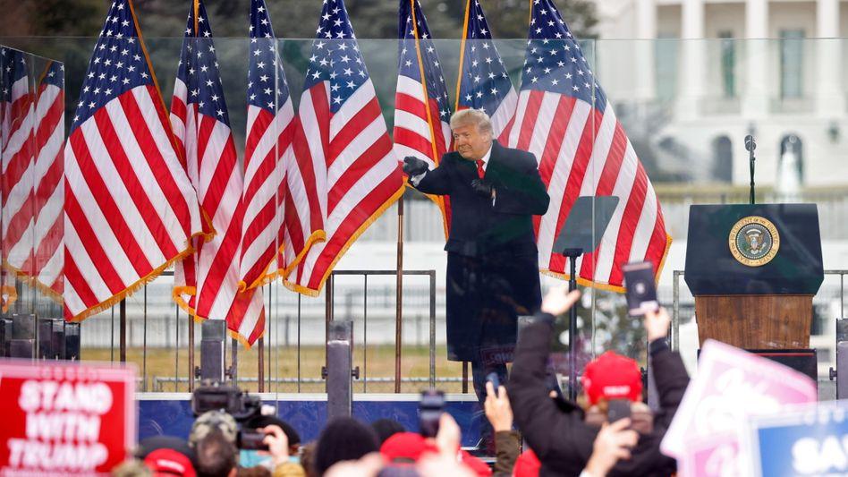 Donald Trump bei einer Rede kurz vor dem Angriff auf das US-Kapitol