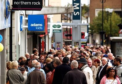 Customers queuing outside a branch of Northern Rock in London, September 2007.