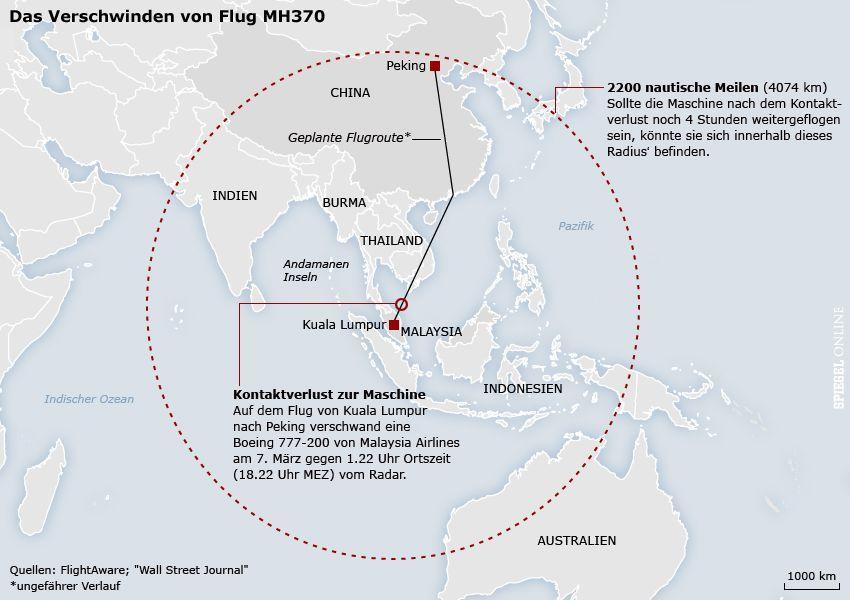 Karte - Flug MH370 - 2200 nautische Meilen