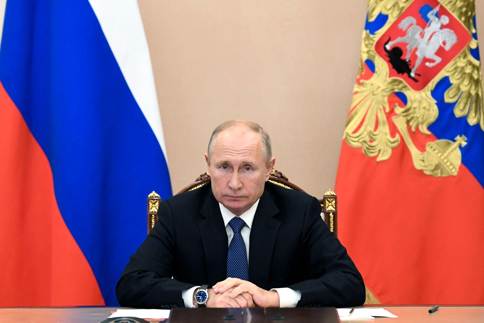 Russischer Präsident Putin bei Videokonferenz