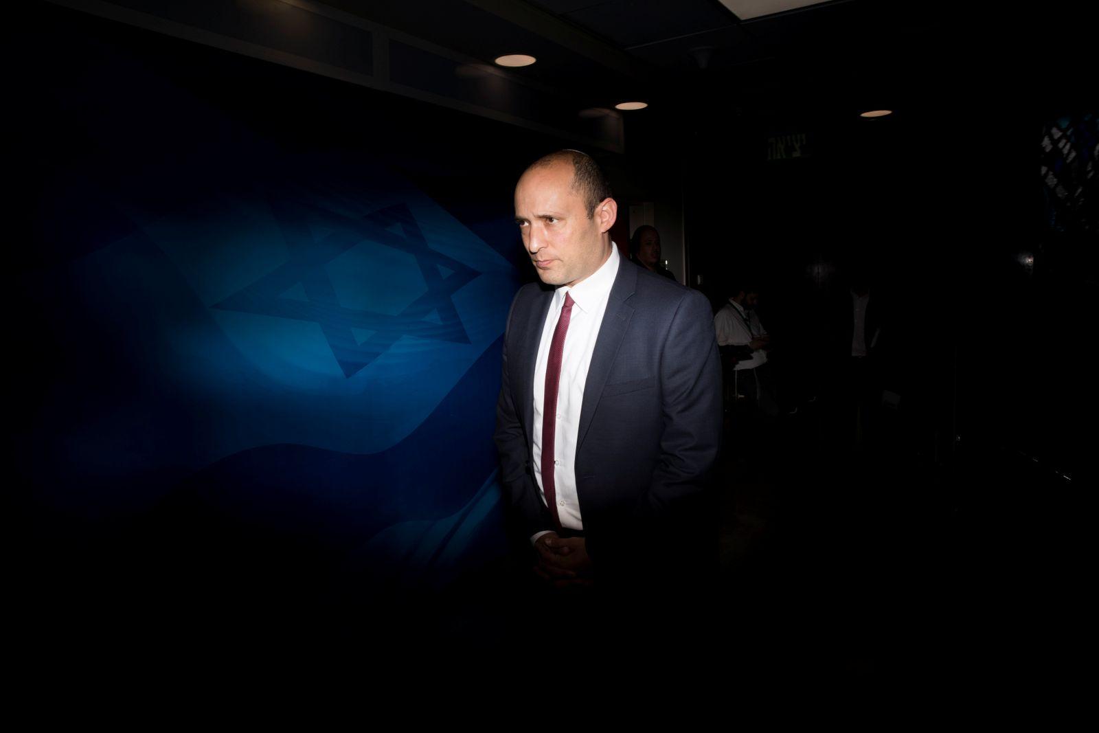 Israeli Education Minister Naftali Bennett attends the weekly cabinet meeting in Jerusalem
