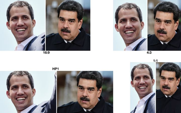 Juan Guaidó (links), Nicolás Maduro