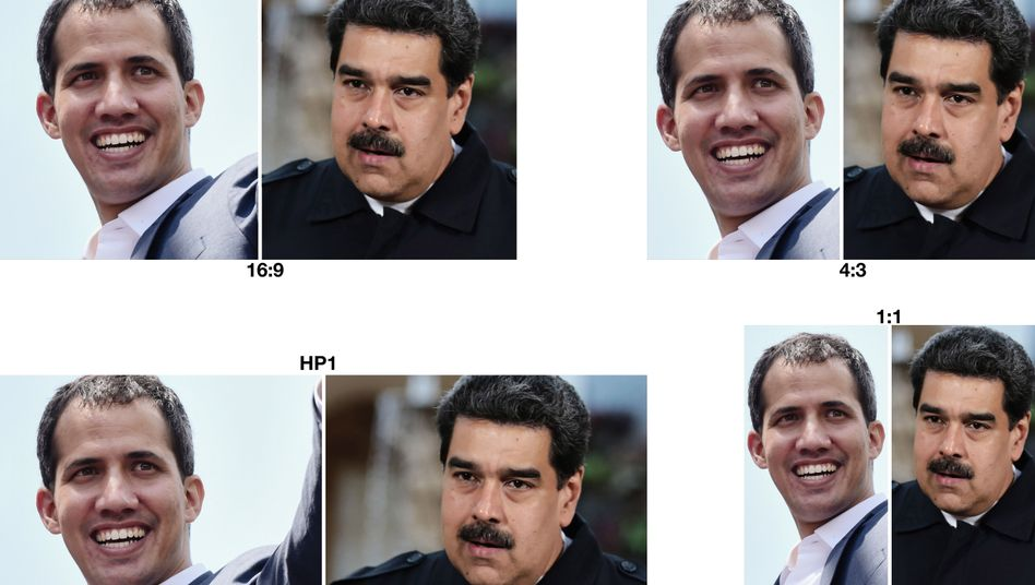 Juan Guaidó (l.) und Nicolás Maduro