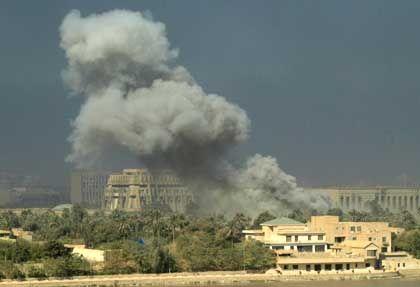 Bagdad unter Beschuss: Auch am 13. Kriegstag war die irakische Hauptstadt Ziel alliierter Luftangriffe.