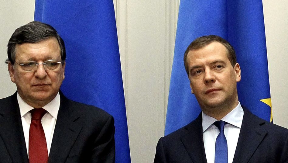 European Commission President Jose Manuel Barroso (L) after an evidently tense meeting with Russian Prime Minister Dmitry Medvedev last Friday.