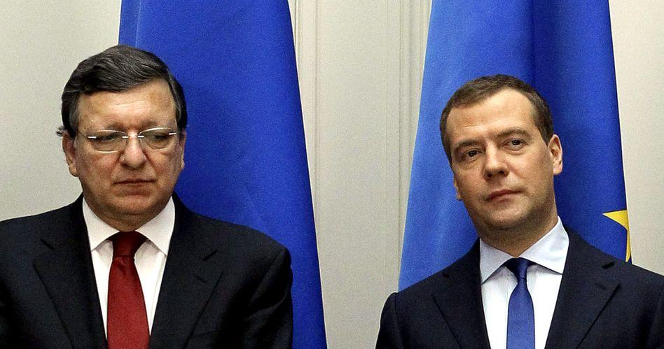 Kommissionspräsident Barroso, Russen-Premier Medwedew: Bilder der Entfremdung