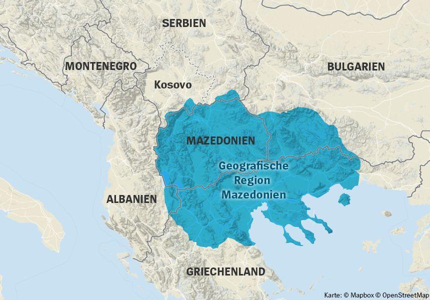 Karte - geografisches Mazedonien