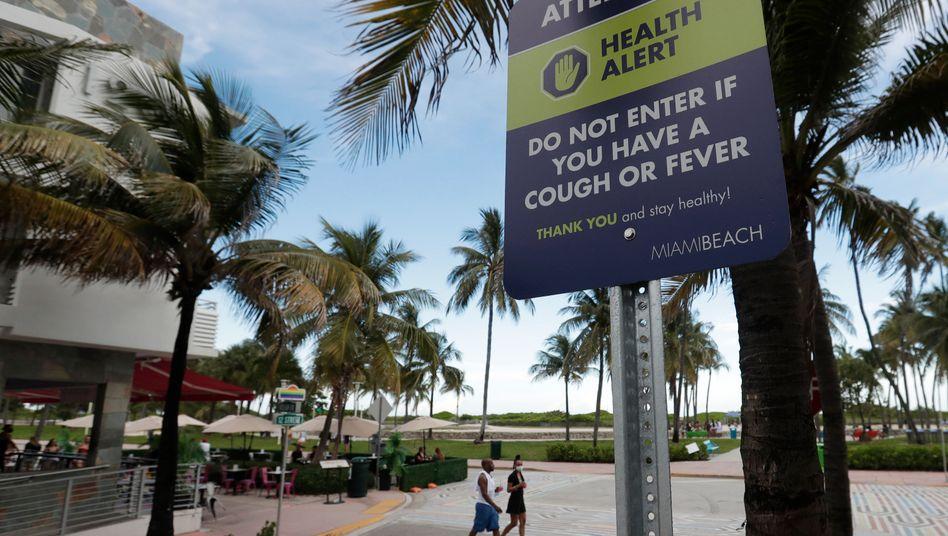 Sonnen auf eigene Gefahr: Corona-Warnung in Miami Beach