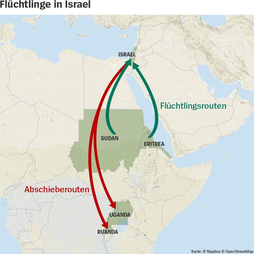 Karte - Flüchtlinge in Israel