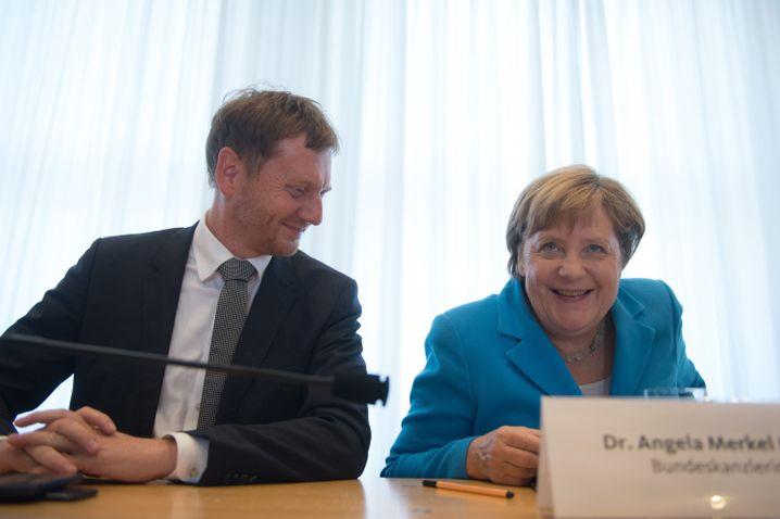 Kretschmer und Merkel im Sächsischen Landtag