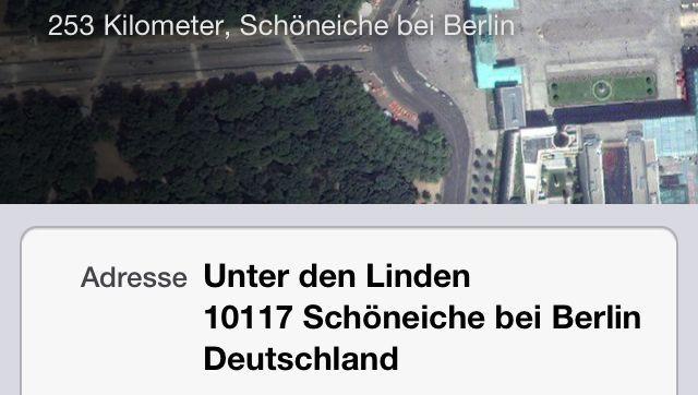 """iOS 6 Maps: Brandenburger Tor in """"Schöneiche bei Berlin""""?"""
