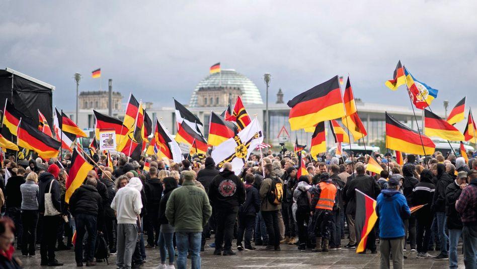 Rechte Demonstranten in Berlin 2019