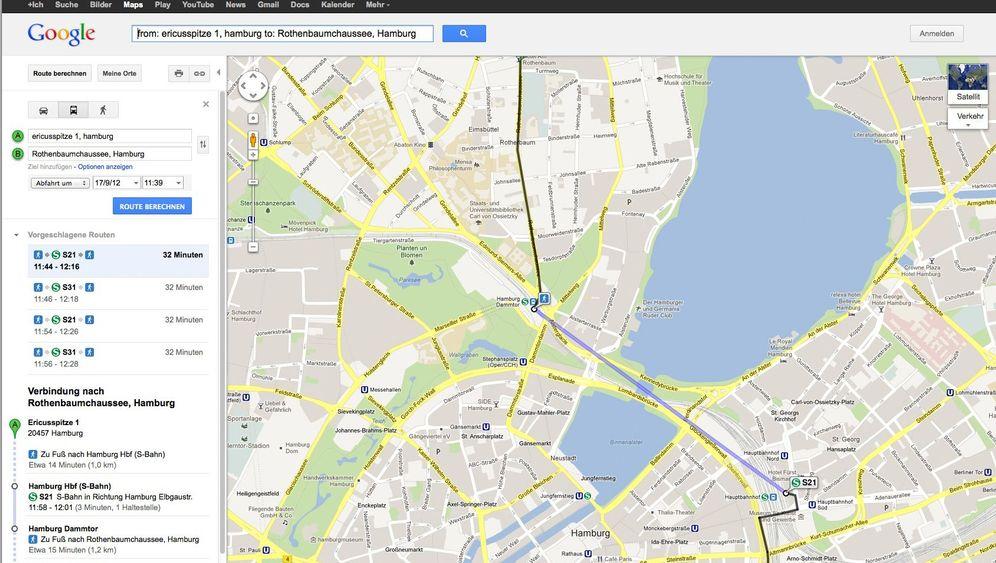 Google-Bahn: Ohne U-Bahn durch Deutschland