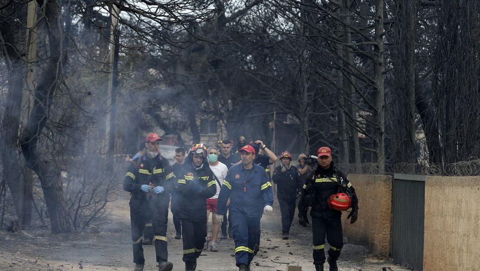 Feuerwehrleute inspizieren ein verbranntes Gebiet nahe Rafina