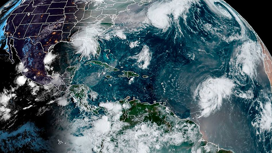 Stürme über dem Atlantik im Satellitenbild vom 15. September 2020