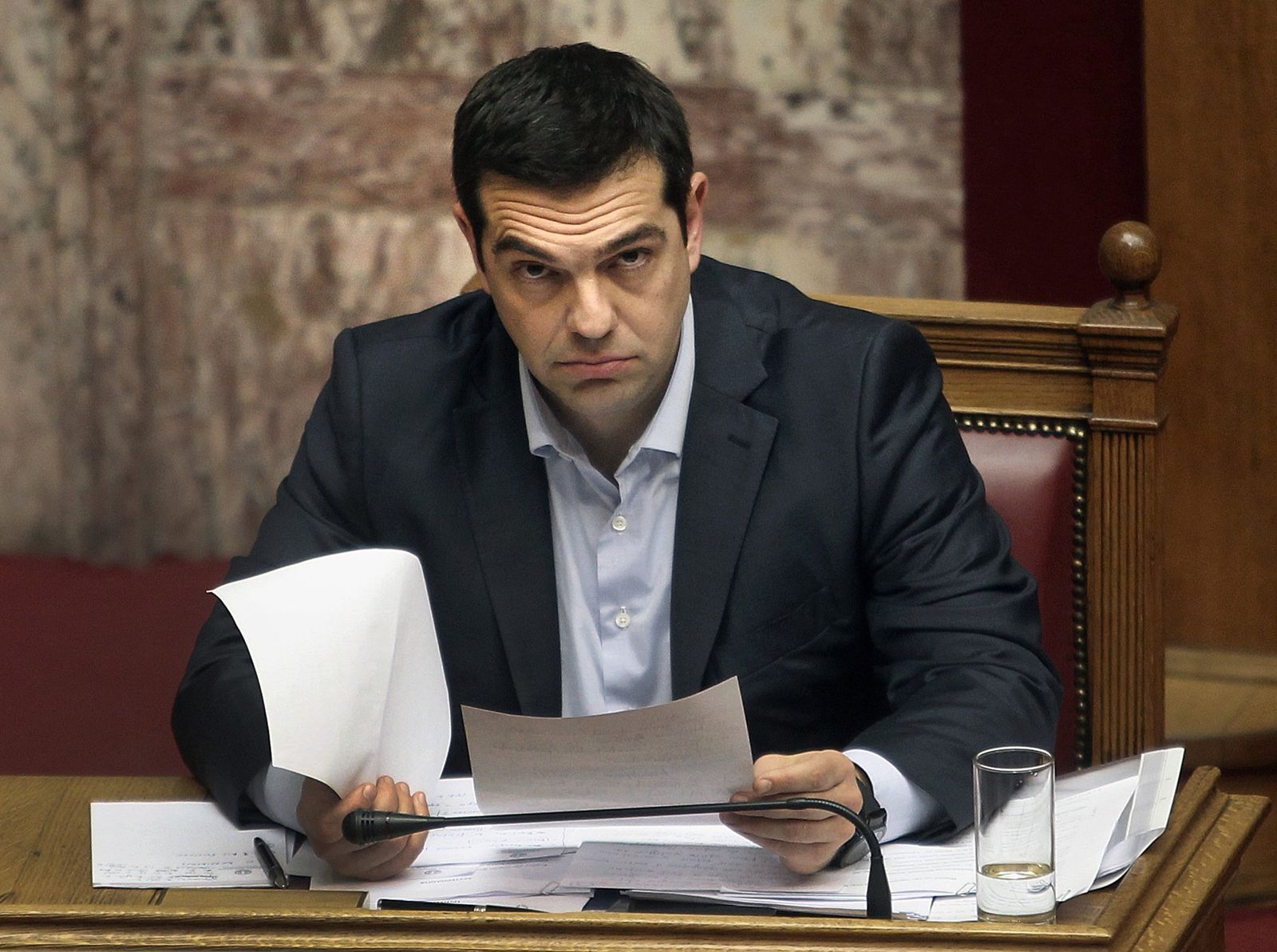 Greek Prime Minister Alexis Tsipras briefs the Parliament on issu