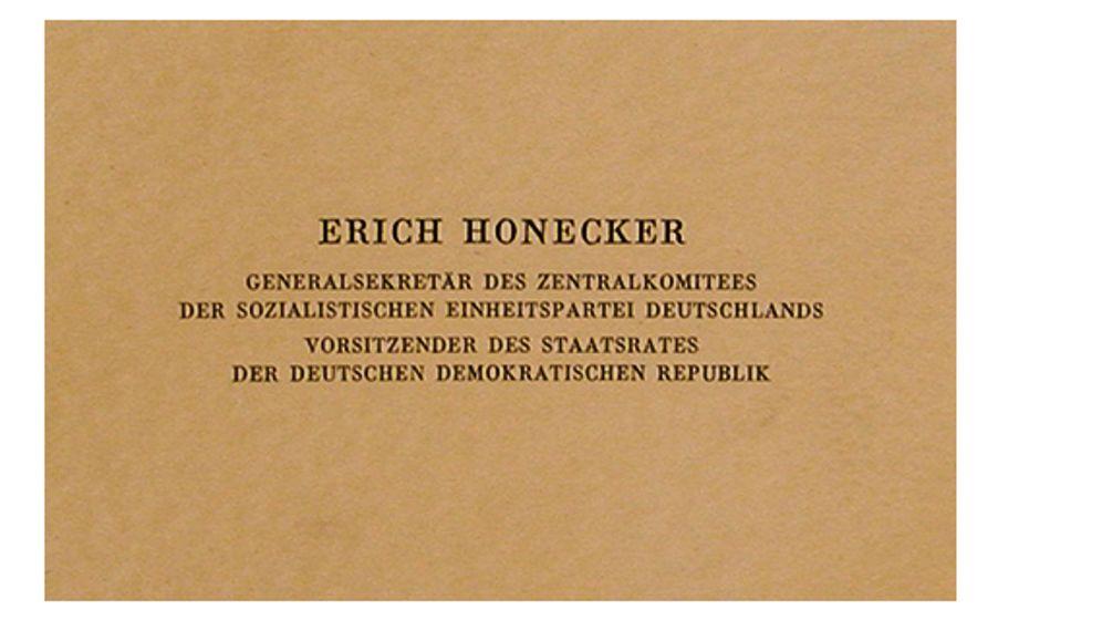 Visitenkarten: Gestatten, Honecker, hier meine Karte