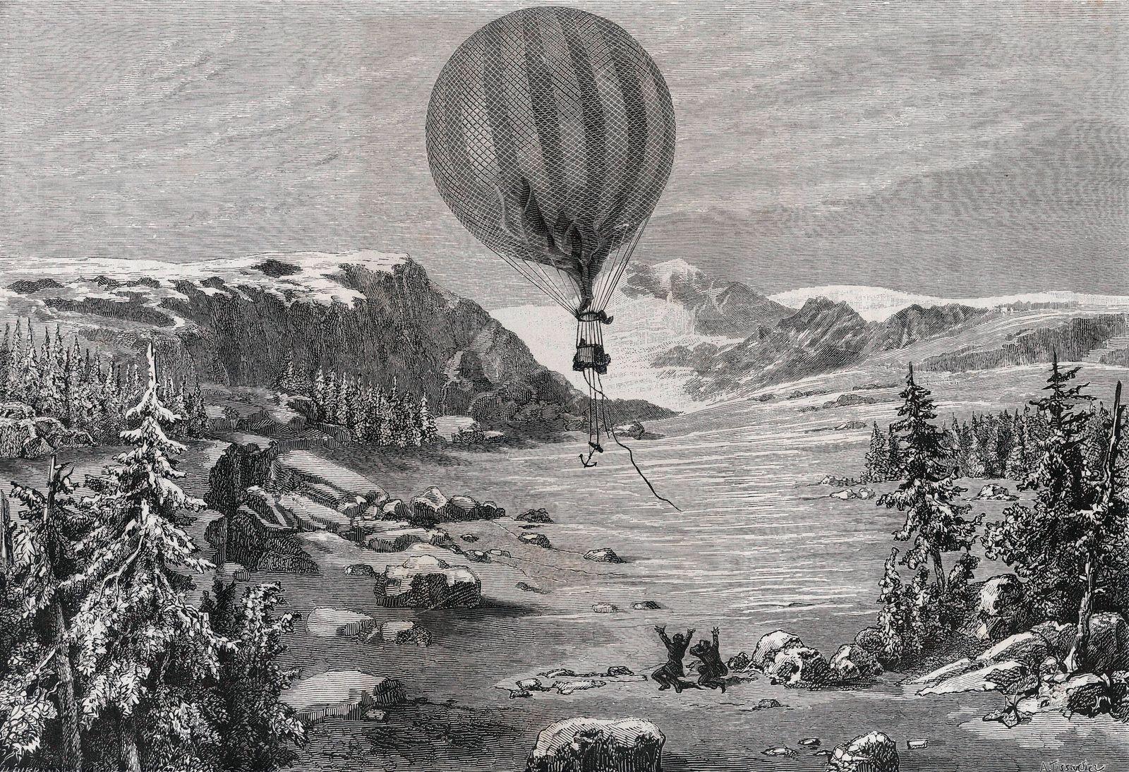 AEROSTATION Descente du ballon La Ville d Orleans au mont Lid en Norvege le 25 novembre 1875. Illustration de Albert TIS