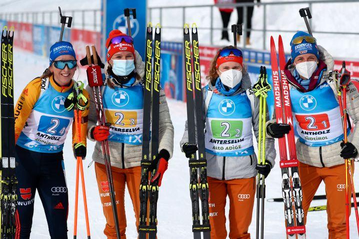 In der Staffel haben die deutschen Biathletinnen beste Medaillenchancen