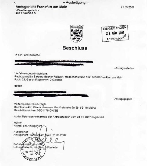 The fax from the Frankfurt court granting the conflict of interest claim.