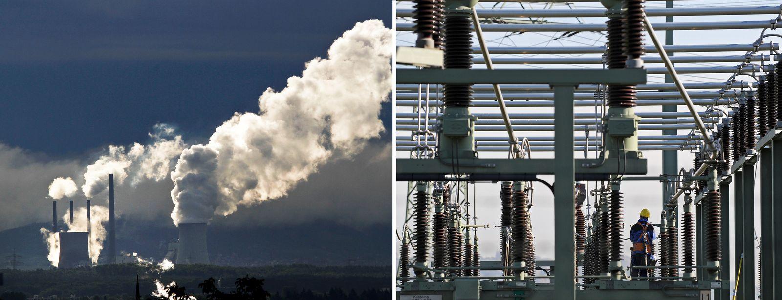 EINMALIGE VERWENDUNG links kohlekraftwerk staudinger, rechts Pumpspeicherkraftwerk Niederwartha