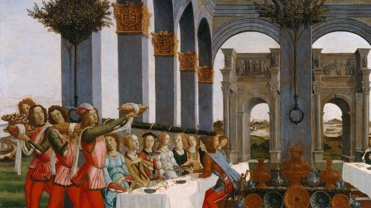 Auf Sandro Botticellis »Hochzeitsbankett« (1483) präsentieren Diener kostbare Speisen. Das Gemälde entstand im Auftrag der reichen florentinischen Familie Pucci (Ausschnitt).