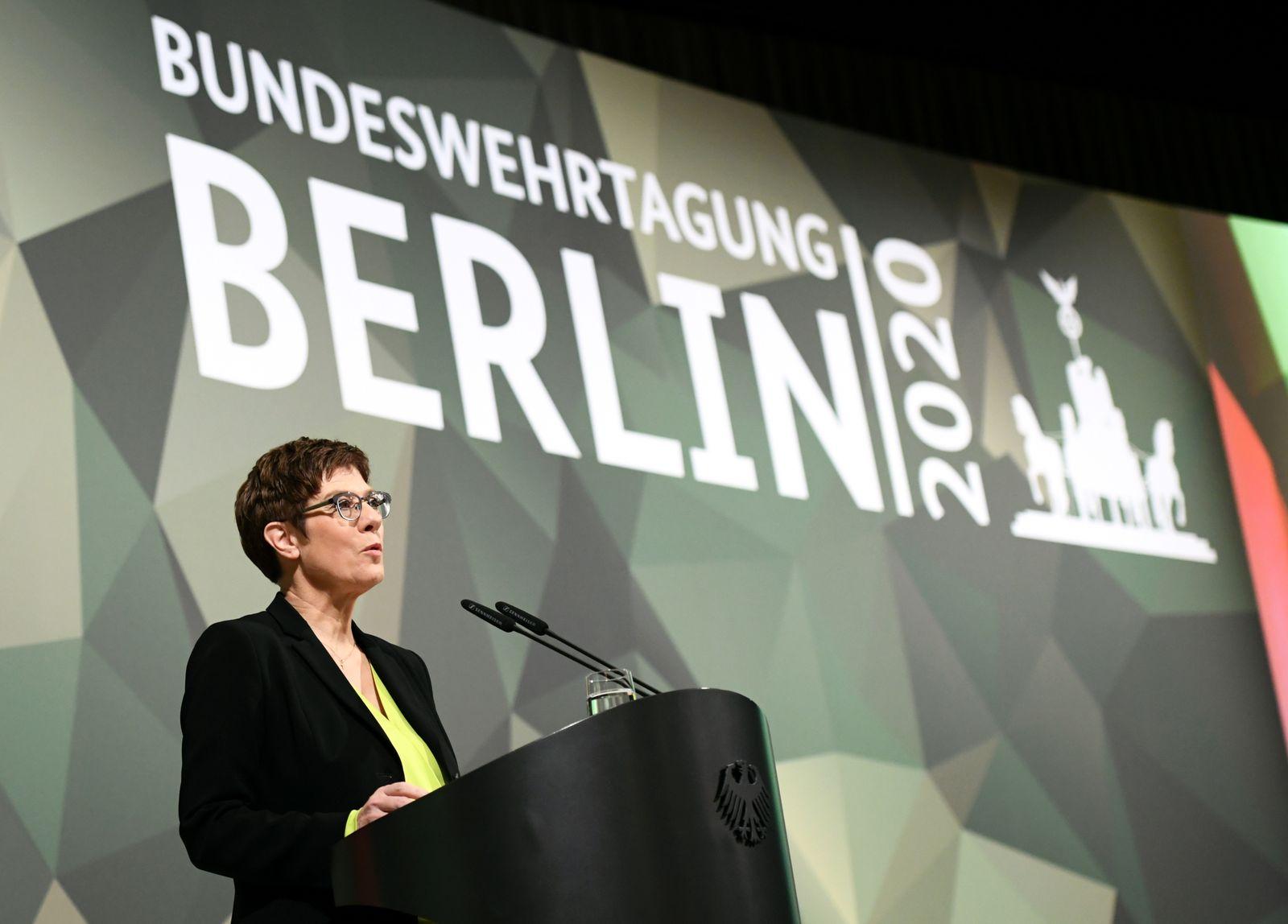 Germany's Defense Minister Annegret Kramp-Karrenbauer attends the Bundeswehr congress in Berlin
