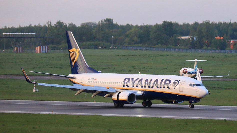 Ryanair-Maschine nach der erzwungenen Landung am Flughafen Minsk