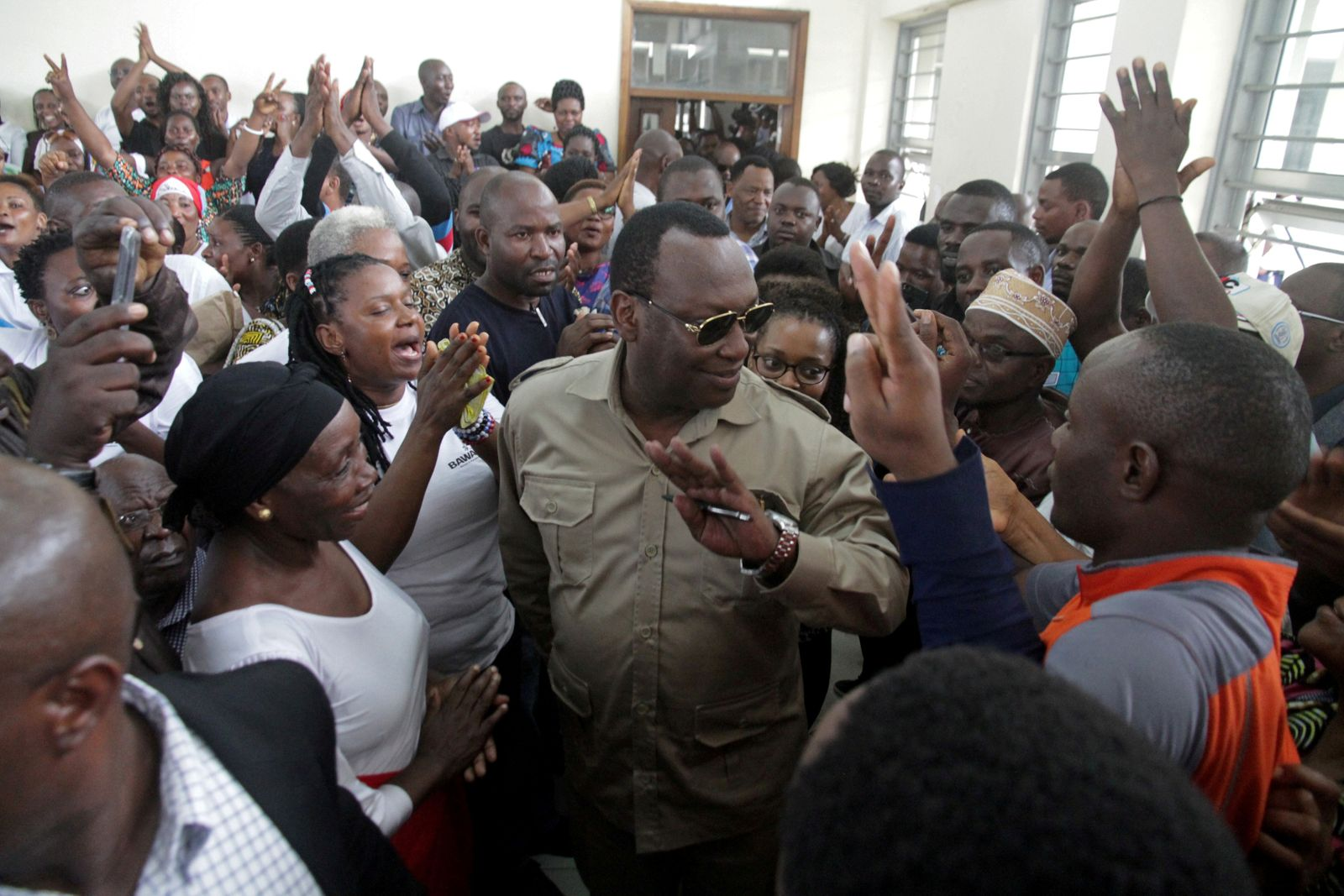 FILE PHOTO: Freeman Mbowe, chairman of Chadema, Tanzania's main opposition party arrives at Kisutu Magistrate Court in Dar es Salaam