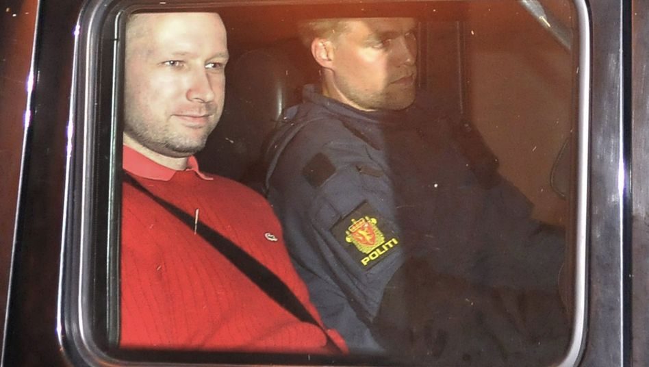 Suspect Anders Behring Breivik leaving the Oslo courthouse on Monday.